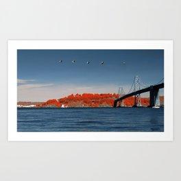 Treasure Island and the Bay Bridge, with birds Art Print