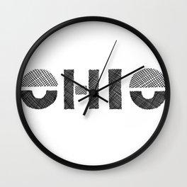Ohio Black and White Wall Clock