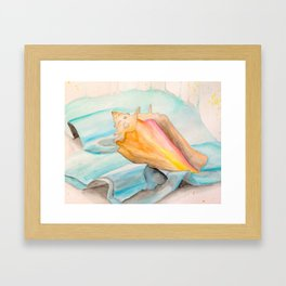 Conch Shell Watercolor Framed Art Print