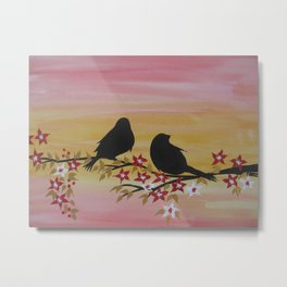 Watercolor and acrylic birds in yellow red brown gold white orange 1 Metal Print