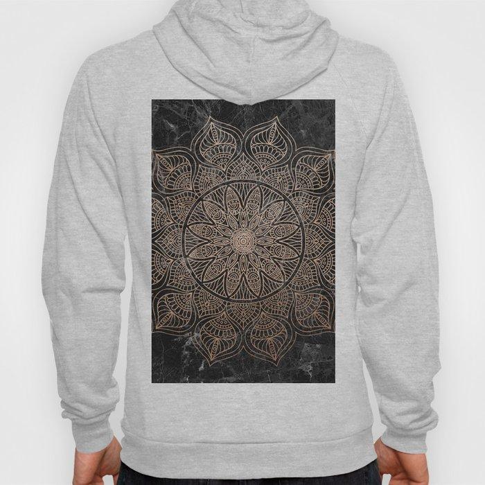 Mandala - rose gold and black marble 4 Hoody