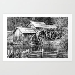 Mabry Mill Black and White - Blue Ridge Parkway Art Print