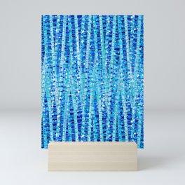 Satin Stripes and Dots Abstract, Cobalt Blue Mini Art Print