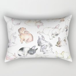 Sleepy French Bulldog Puppies Rectangular Pillow