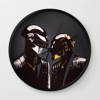 daft punk Wall Clocks featuring DAFT PUNK by Gregory Casares