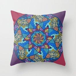 Mountain abstract mandala Throw Pillow