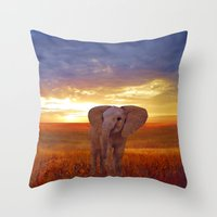baby elephant Throw Pillows featuring  Elephant baby by valzart