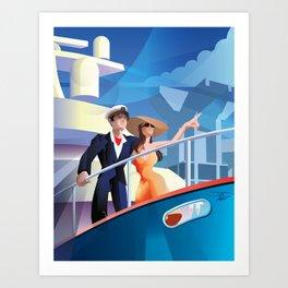 COUPLE ON YACHT Art Print