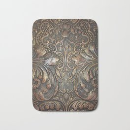 Golden Brown Carved Tooled Leather Bath Mat