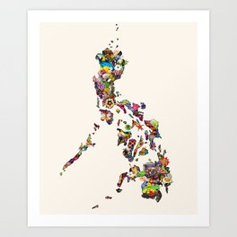 7,107 Islands | A Map of the Philippines Art Print