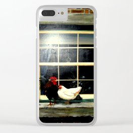 Rooster & Hen on a window Ledge Clear iPhone Case