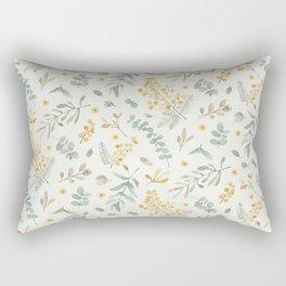 Australian wattle and eucalyptus watercolor floral Rectangular Pillow