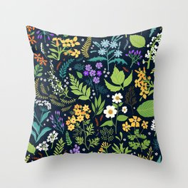 Pattern with flowers. Modern floral background. Throw Pillow