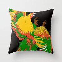 rooster Throw Pillows featuring Rooster by Saundra Myles