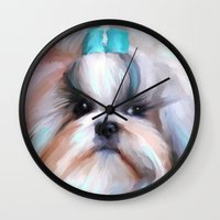 shih tzu Wall Clocks featuring Little Boy Shih Tzu by Jai Johnson