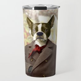 Barney the Boston Terrier in the Arboretum Travel Mug