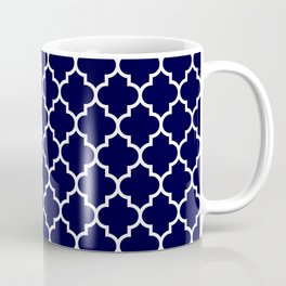 White Moroccan Quatrefoil On Navy Blue Coffee Mug