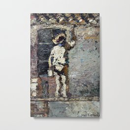 Adolphe Monticelli - A Painter at Work on a House  Wall Metal Print