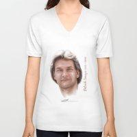 patrick V-neck T-shirts featuring Patrick Swayze by Tribute Portrait