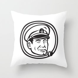 Sea Captain Pipe Smoke Circle Black and White Throw Pillow