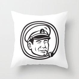 Sea Captain Pipe Smoke Circle Black and White Throw Pillow