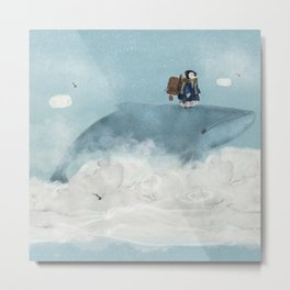the little explorer and the big blue whale Metal Print