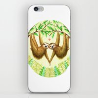 sloths iPhone & iPod Skins featuring Sloths in Love by Kirsten Sevig