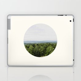 Mid Century Modern Round Circle Photo Graphic Design Pine Forest With Rolling Hills Laptop & iPad Skin