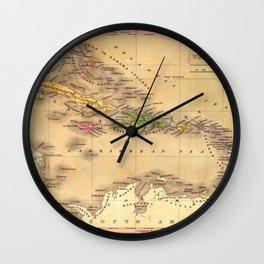 Map Of The Caribbean 1828 Wall Clock