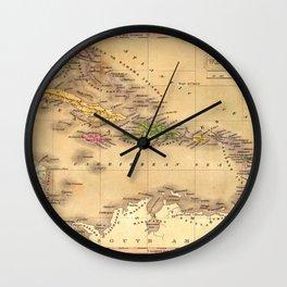 Map Of The Caribbean 1828 Wall Clock