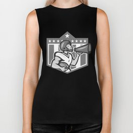 American Football Bullhorn Shield Grayscale Biker Tank