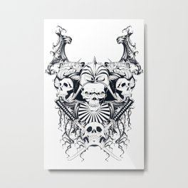 Japan samurai skull Metal Print
