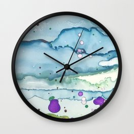 Lavender Field and Blue Sky Alcohol Ink Painting Wall Clock
