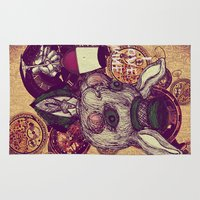 wine Area & Throw Rugs featuring Wine Lovers by AKIKO