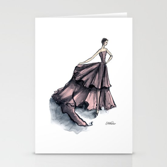 Audrey Hepburn in Pink dress vintage fashion Stationery Cards