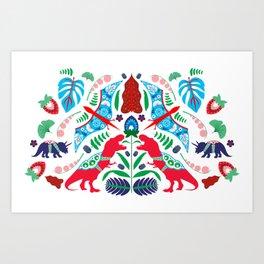 Jurassic Folk Art Print