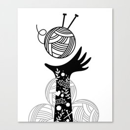 Yarn Love - Black Canvas Print