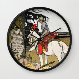 Rider By The Grave By Ivan Biblin Wall Clock
