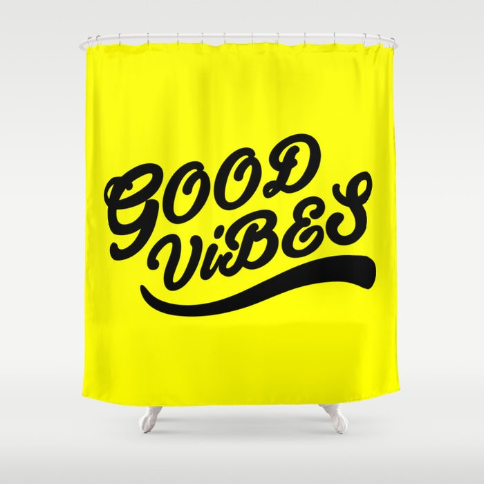 Good Vibes Happy Uplifting Design Black And Yellow Shower Curtain By