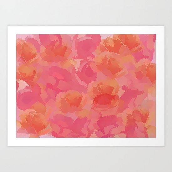 Soft Rose Bouquet Abstract Art Print