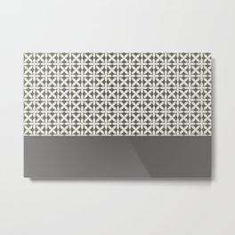 Pantone Cannoli Cream Square Petal Pattern on Pantone Pewter Metal Print