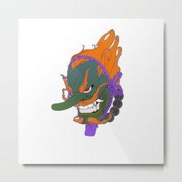 japanese mask green bad Metal Print