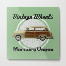 Vintage Wheels: Mercury Wagon (black) Metal Print