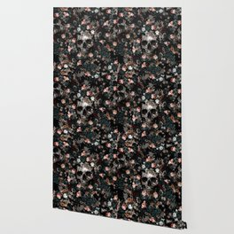 Skull and Floral pattern Wallpaper