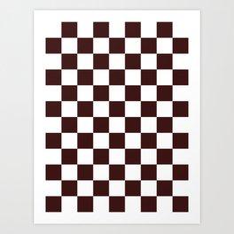 Checkered - White and Dark Sienna Brown Art Print