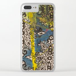 Scrambled Design in Teal, Yellow and Magenta Clear iPhone Case