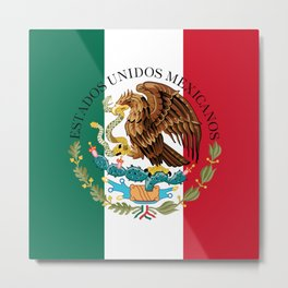 Mexican national flag (augmented scale) with Coat of Arms (overlaid) Metal Print