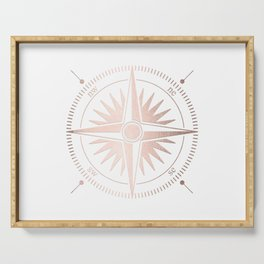 Rose Gold on White Compass Serving Tray