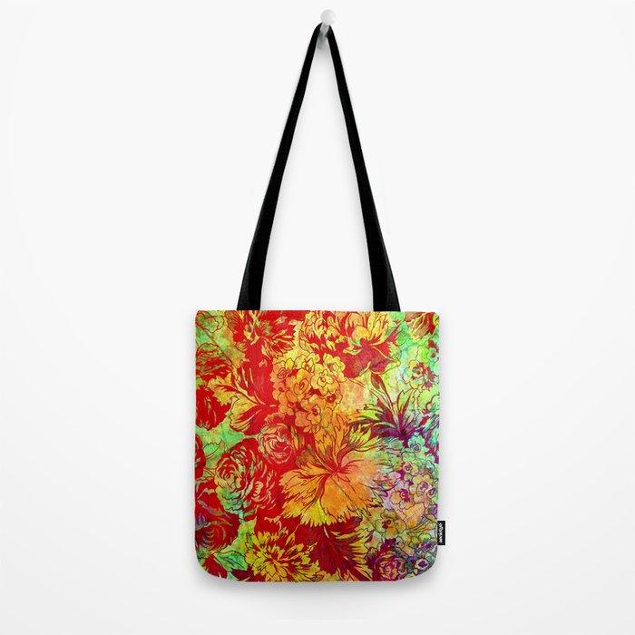 vivid floral Tote Bag