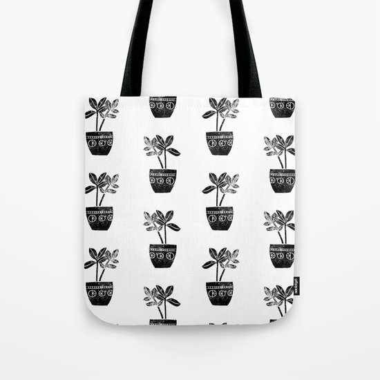 Rubber Plant linocut lino printmaking illustration black and white houseplant art decor dorm college Tote Bag